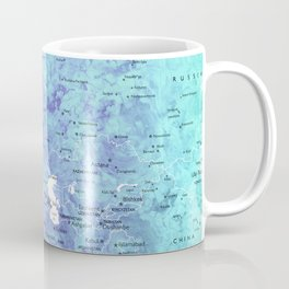 "Rainbow gradient watercolor world map with cities ""Maxwell"" - SIZES LARGE & XL ONLY Coffee Mug"