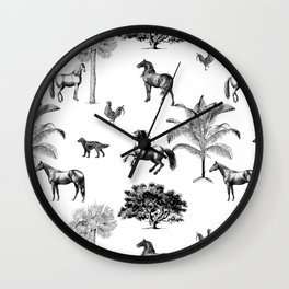 Vintage horses black and white pattern  Wall Clock