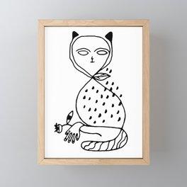 Graphic black white line art cat Framed Mini Art Print