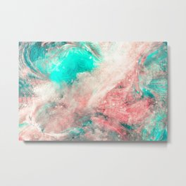 Teal and Peach Across the Universe Metal Print