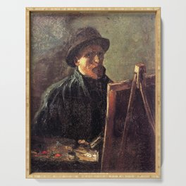 Self-Portrait with Dark Felt Hat at the Easel by Vincent van Gogh Serving Tray