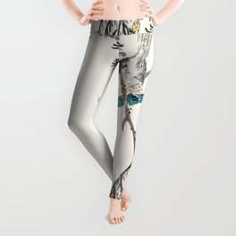 japanese great tit and japanese cypress illustration 42476319445 Leggings