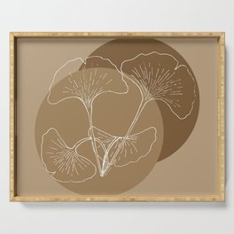Ginkgo Leaves in Earthy Color Palette Serving Tray