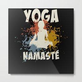 Yoga Namaste Music Metal Print