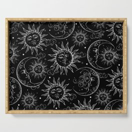 Black Magic Celestial Sun Moon Stars Serving Tray