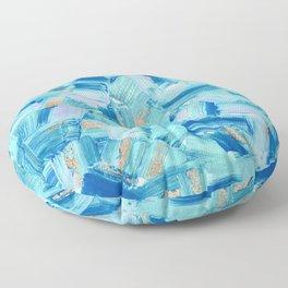 Artsy Abstract Modern Ocean Blue Brushstrokes Art Floor Pillow