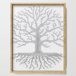 Pixel Art - Cross Stitch Chart - Grey Tree of Life - Serving Tray