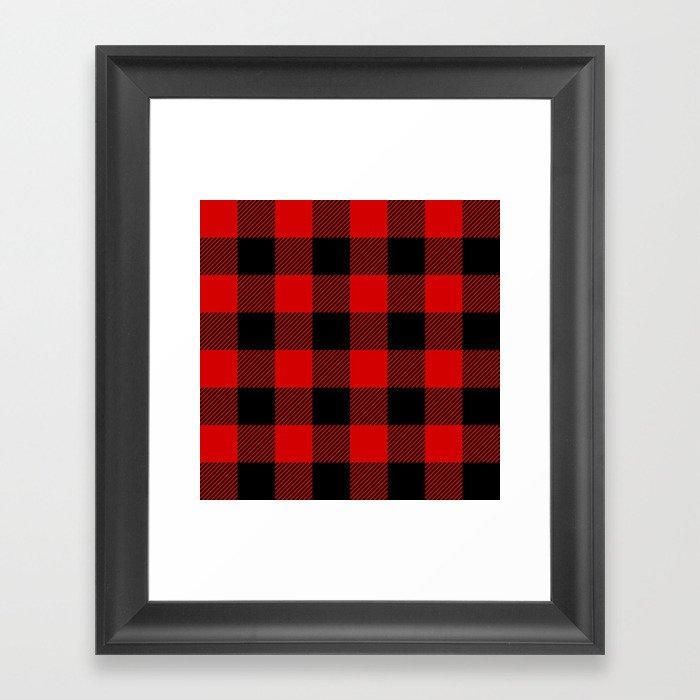 Red Lumberjack Pattern Gerahmter Kunstdruck