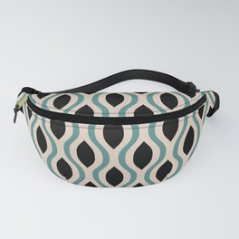 Retro Ogee Pattern 452 Teal Beige and Black Fanny Pack