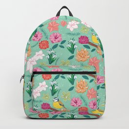 Joyful colourful floral pattern with bird Backpack