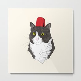 Fez Hat Cat Metal Print