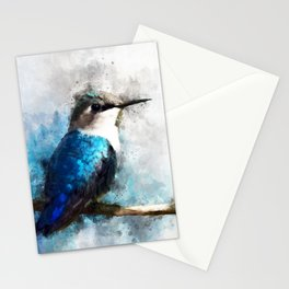 Humming Bird Blue Teal Bird Wildlife Animal Watercolor Artistic Painting Stationery Cards