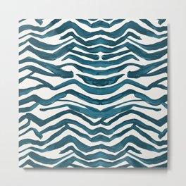 Zebra Print – Teal Palette Metal Print