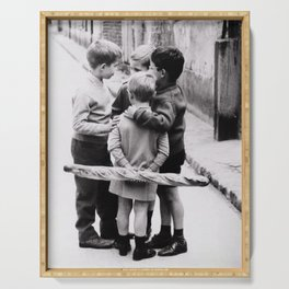 The Gangs of Paris, Little Boys with Morning Baguettes black and white photography - black and white photographs Serving Tray