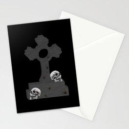 Gravestone with skulls, gothic, graveyard, cross, skull Stationery Cards