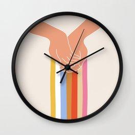 Hands and rainboow Wall Clock