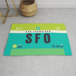 Baggage Tag A - SFO San Francisco USA Rug