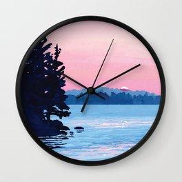 Pastel Lake Sunset Wall Clock