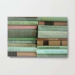 pastel book stacks Metal Print
