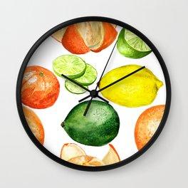 Watercolor citruses Wall Clock
