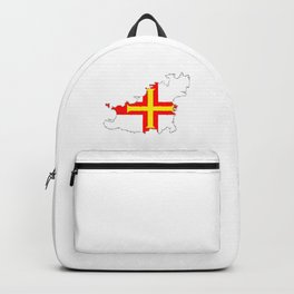 Guernsey Outline Silhouette Map With Inset Flag Backpack