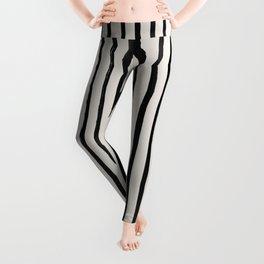 Vertical Black and White Watercolor Stripes Leggings