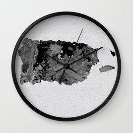 Black and White Art Puerto Rico Map Wall Clock