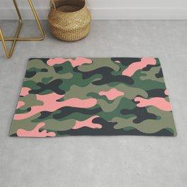 Girlie Green Pink Camouflage Rug