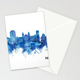 Nagasaki Japan Skyline Blue Stationery Cards