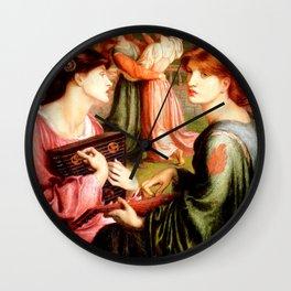 """Dante Gabriel Rossetti """"The Bower Meadow"""" Wall Clock"""
