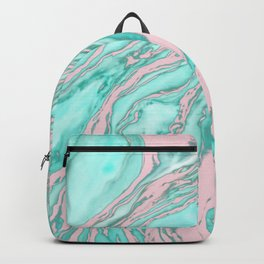 Girly Modern Pink Teal Green Smoky Marble Pattern Backpack