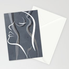 Line Drawing of a Women Stationery Cards