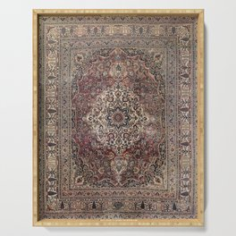 Antique Persia Doroksh Old Century Authentic Dusty Dull Blue Gray Green Vintage Rug Pattern Serving Tray