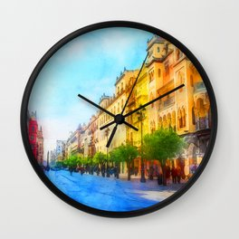 Seville, Avenida Constitucion - Watercolor Wall Clock