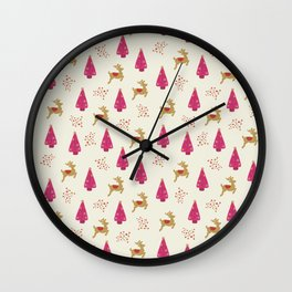 Reindeer and Christmas Trees Wall Clock