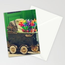 Vintage colorful baby stroller - Fine Art Photography Stationery Cards