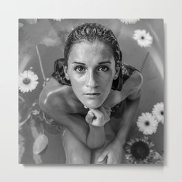 Beautiful Reflection with daisies, female nude black and white photograph / black and white photography Metal Print