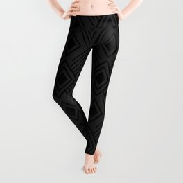 Dark grey and black Tribal Diamond Grid Leggings