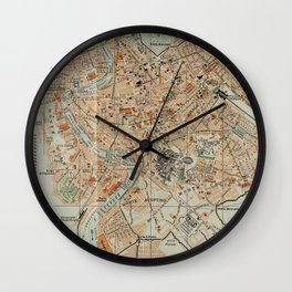 Vintage Map of Rome Italy (1911) Wall Clock