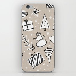 Christmas White and Kraft Sketches iPhone Skin