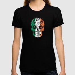 Sugar Skull with Roses and Flag of Ireland T-shirt