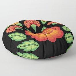 Mexican Folk Pattern – Tehuantepec Huipil flower embroidery Floor Pillow