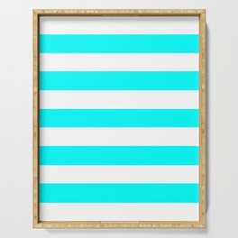 Electric cyan - solid color - white stripes pattern Serving Tray