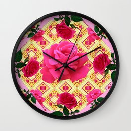 PINK & RED GARDEN ROSES PATTERN PINK ABSTRACT Wall Clock