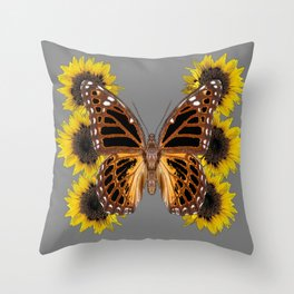 BROWN BUTTERFLY & YELLOW SUNFLOWERS Throw Pillow
