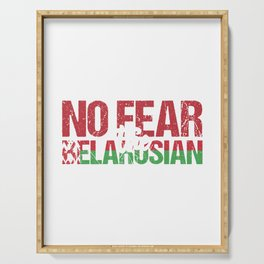 Eastern Europe Country Minsk Patriotism Gift Belarus Flag Have No Fear The Belarusian Is Here Serving Tray