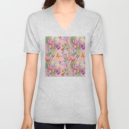 Iris and Butterfly Floral Pattern in Lilac and Pastel Pink Unisex V-Neck