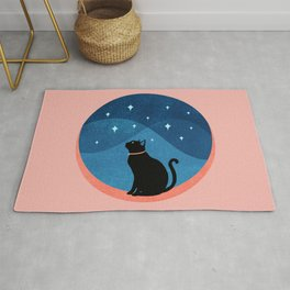 Abstraction_CAT_NIGHT_SKY_STARS_Minimalism_001 Rug