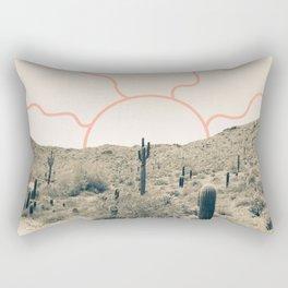 Wonder Rift // Abstract Vintage Mountains Summer Sun Surfer Beach Vibes Drawing Happy Wall Decor Rectangular Pillow