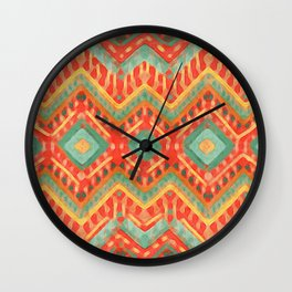 itzel - orange + green Wall Clock